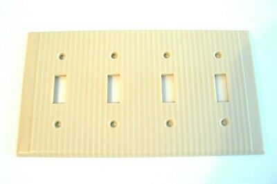 Leviton 4 Gang Toggle Switch Wall Plate Cover Ribbed Ivory Beige Bakelite.