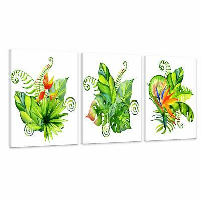 Green Plant Watercolor Flowers Painting Canvas Wall Art - Set of 3