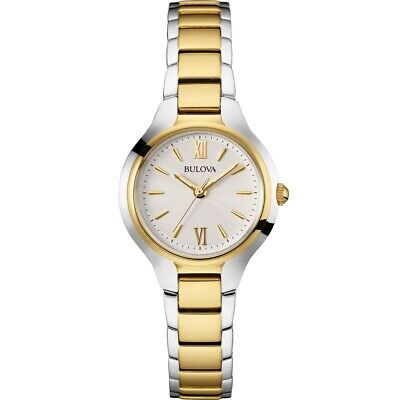 Bulova Women's Quartz Silver Tone Dial Two-Tone Bracelet 28mm Watch 98L217