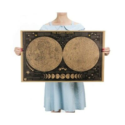 Large Vintage Retro Paper Earth Moon World Map Poster Wall Chart Home Decoration