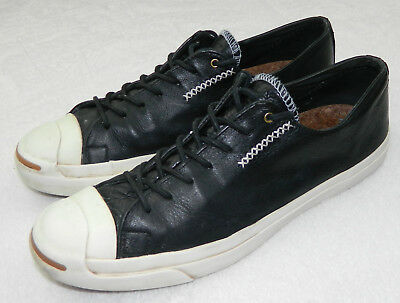 2fccb67f0c05 CONVERSE JACK PURCELL Mens 11 SNEAKER SHOES White BLACK LEATHER Cork Soles q