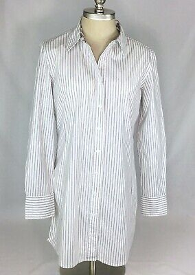 c2b71ef6524 Chicos Womens Top Size 1 Button Up White Black Stripe Long Sleeve Tunic  Paisley