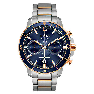 Bulova Marine Star Men's Quartz Chronograph Rose Gold Tone 45mm Watch 98B301