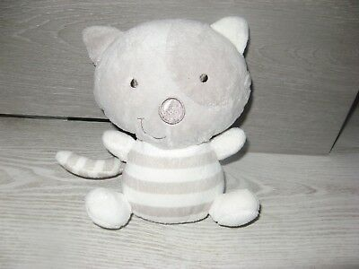 peluche doudou chat blanc gris rayure 18 cm orchestra