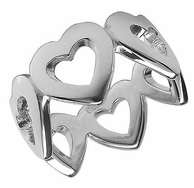 925 Sterling Silver HEART BAND RING Various Sizes 10mm Wide Ladies love