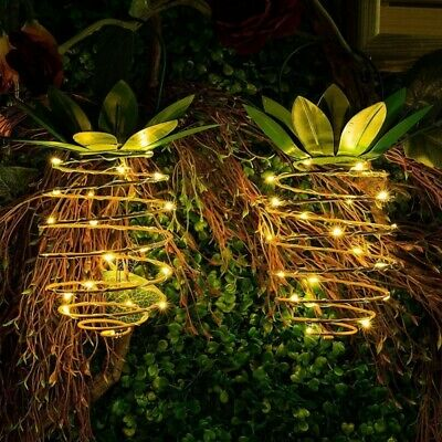2pcs Solar Powered 25 LED Pineapple Lights Hanging Fairy String Waterproof for O
