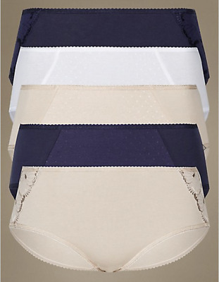 d597f28ee0d8 M & S Collection 5 Pack Cotton Rich Assorted Almond Mix Low Rise ...