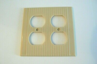Leviton Two Gang Outlet Wall Plate Cover Ribbed Bakelite Beige Ivory.