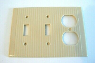 Leviton Two Gang Switch Single Outlet Wall Plate Cover Ribbed Bakelite Beige.