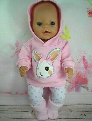 "Dolls clothes for 17"" Baby Born doll~PINK BUNNY RABBIT HOODIE/LEGGINGS/BOOTS"