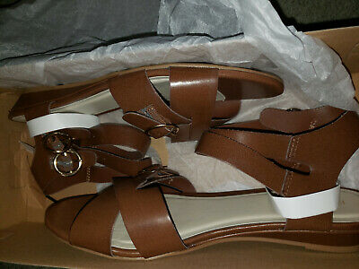 7f9cd252ffc FADED GLORY Womens BROWN STRAP DOUBLE BUCKLE SANDALS SIZE 9