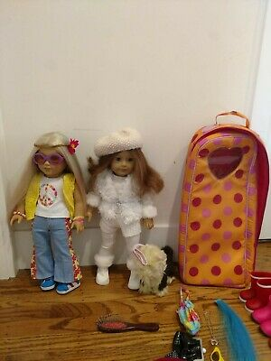 American Girl Doll lot- Julie and Sage and clothing and popcorn maker and dog