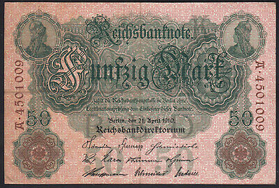 1910 50 Mark Germany Vintage Paper Money Banknote Old Currency Rare Antique VF