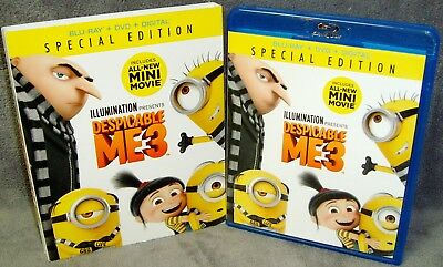 Despicable Me 3 (Blu-ray/DVD, 2017, 2-Disc Set) No Scratches•USA•Steve Carell