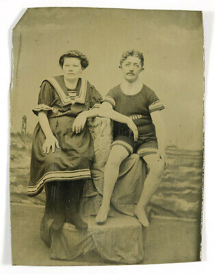 1880s Tintype Photograph Man & Woman in Bathing Swimming Suit - Both Named