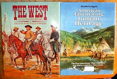 2 Large Old West Illustrated History & Indian Heritage Customs Art BOOKS 1976-78