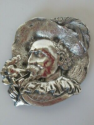 Antique English engraved silver plate decorative piece