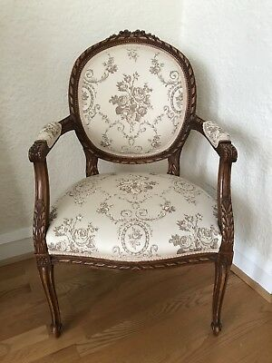 Anitique French Louis XVI Carved Provincial  Hollywood Regency Chic Chair Paris