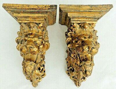 Large Pair Vintage Gold Gilt Figural LION Hanging Floating Wall Shelf Sconces