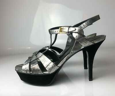 2da5e5bbec3 YSL Yves Saint Laurent Tribute Silver Black Leather Suede Pumps Sandals  Euro 39