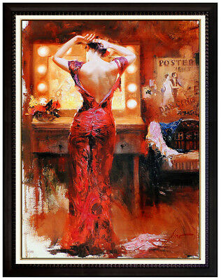 PINO Daeni The Star Hand Embellished Giclee on Canvas Signed Female Portrait Art