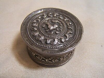 Antique Chinese Sterling Silver Repousse Qing Trinket Box Hand Made