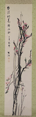 "JAPANESE HANGING SCROLL ART Painting ""Peach Blossoms"" Asian antique  #E6590"