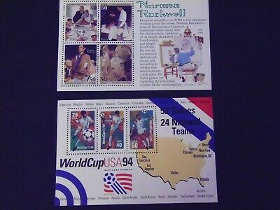 US POSTAGE STAMPS Two Souvenir Sheets Norman Rockwell World Cup