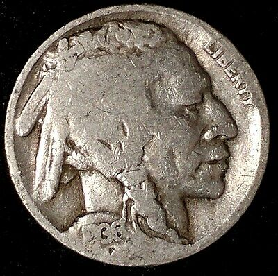 """1936-D 5C Buffalo Nickel, rw  """"VF"""" """"Only 50 Cents for Shipping""""*a"""