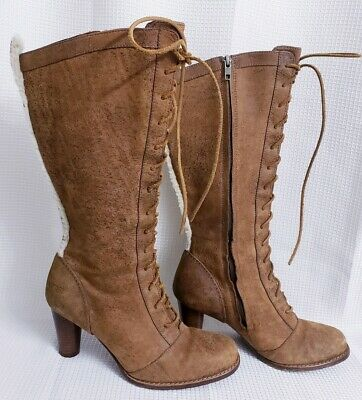 d04999de092c UGG 5488 Camille Brown Leather Lace   Side Zip Up Boots size 8.5 Women s
