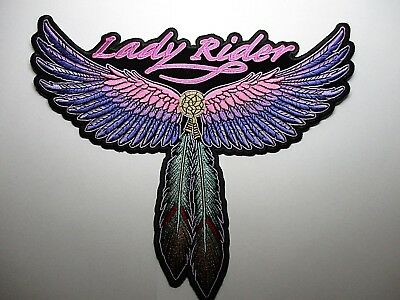 Lady Rider Feathers & wing Large back Patch Sew/Iron Rider biker Motorcycle vest
