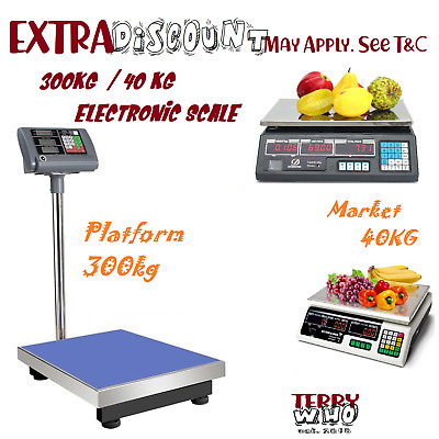 Shop Platform Kitchen Scales 300kg/ 40kg Electronic Digital Scale Commercial