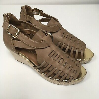 RIVER ISLAND Girls Brown Wedge Sandals Size Uk 3 Woven Wedges Summer Shoes