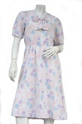 Vintage 80s Pastel Floral Print Dress With Bow