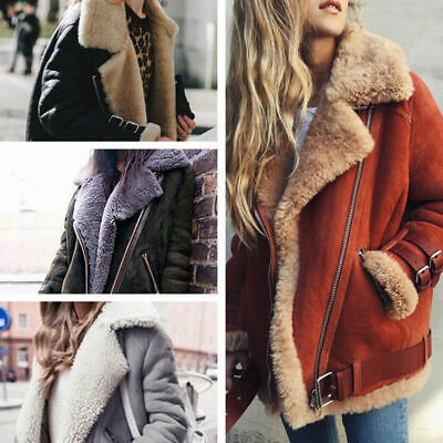 Women Winter Warm Fashion Coat Thick Fake Aviator Leather Jacket Fur Coat