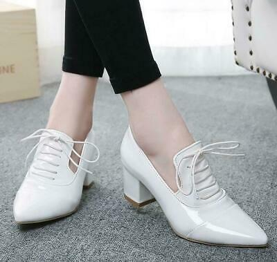Women's Shoes Pointed Toe Chunky Lace Up Block Heels Casual pumps White US8/39
