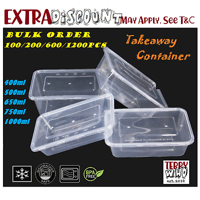 500,650,750,1000mlTAKE AWAY CONTAINERS & LIDS DISPOSABLE PLASTIC FOOD CONTAINER