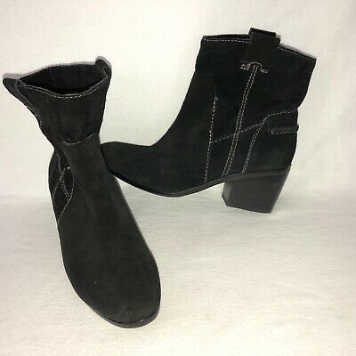 360c42e89ba84 Vince Camuto Maves Women s 7.5M Black Suede Block Heel Pull On Ankle Boots