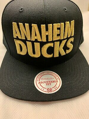 b9b98c64 Anaheim Ducks Mitchell & Ness NHL Hockey SnapBack Hat Cap Black & Gold NWOT  Rare