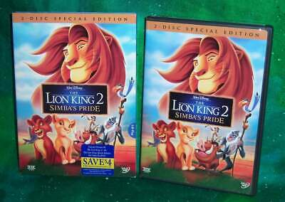 New As Is Rare Oop Disney Lion King 2 Simba's Pride 2 Disc Movie Dvd & Slipcover