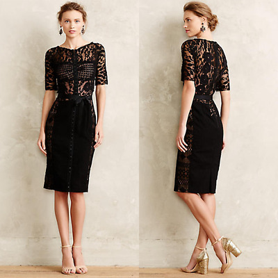 8f456a52 NEW Anthropologie Beguile by Byron Lars Carissima Black Lace Zip Sheath  Dress 00