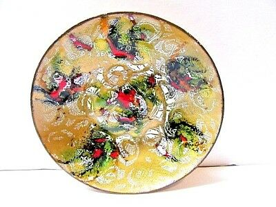 Miniature Small Bowl Dish Plate Signed Copper Enamel Pin Coin Dish Vintage Mcm