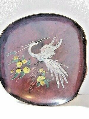 Copper Enamel White Bird Dish With Curled Edges Artisan Signed Vintage Flowers