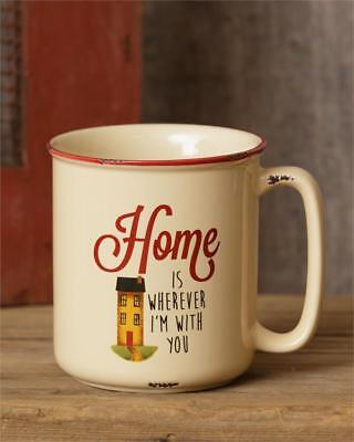 "NEW Primitive Country Distressed Stoneware "" HOME "" Inspirational Mug"