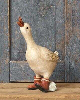 """NEW!! Adorable Primitive Country Farmhouse 10"""" Resin GOOSE IN BOOTS Figurine"""