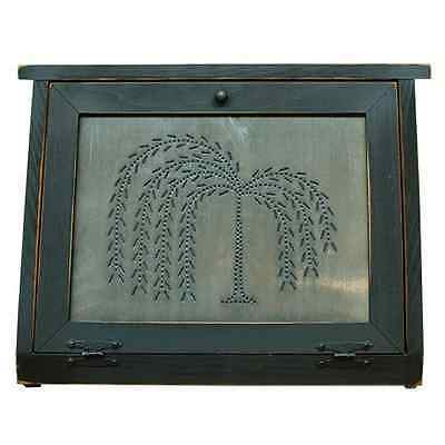 HANDMADE Primitive Country Rustic Black Burnished Willow Tree Bread Box