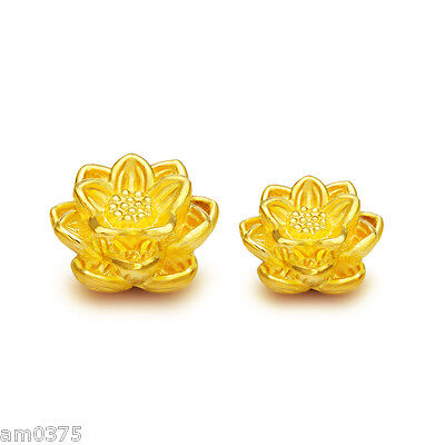 1pcs NEW 999 Real 24K Yellow Gold Pendant 3D Bless Lotus Lucky DIY Bead / 13*8mm