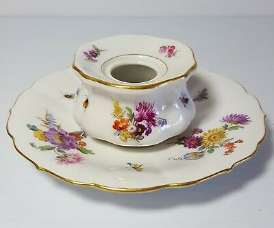 Porcelain Inkwell and Saucer MEISSEN Dresden Flowers Bugs Antique 19th Century