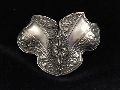 Vintage Antique Ornate Silverplate 2 PC Repousse' Belt Buckle Filigree Overlay