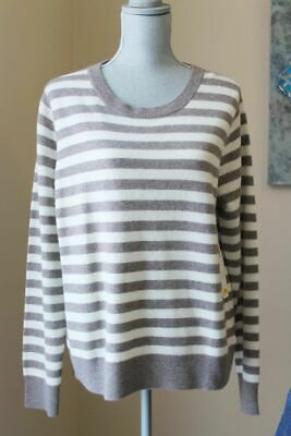 2ac5376a33 New C&C California Wom Xl Stripe Cashmere Pops Sweater Pullover Taupe Ivory